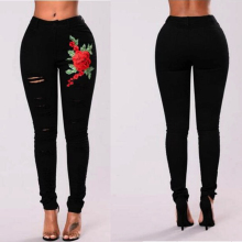 2018 Long casual Jeans Women High Waist Skinny Pencil Black Denim Pants women embroidery ripped hole Elastic Stretch femme