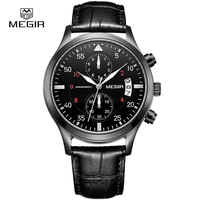Prix pour Megir d'origine hommes montres de luxe d'affaires en cuir militaire montre à quartz montres pour hommes gentleman relogio masculino