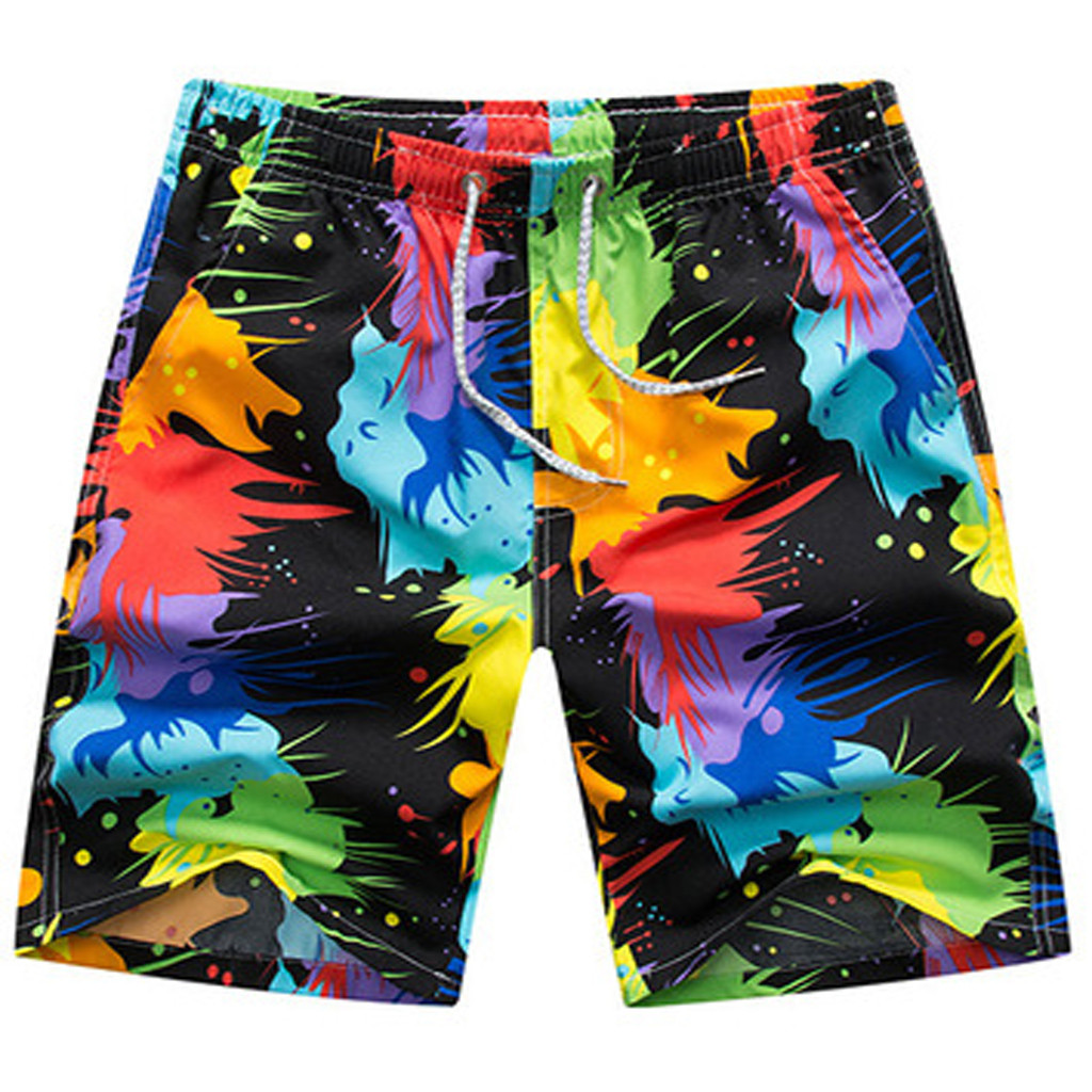 Beach pants Multicolor Quick drying Swim Beach   Shorts   Quick Dry Men's Surf   Board     Shorts   Random Pants summer Swimming pants