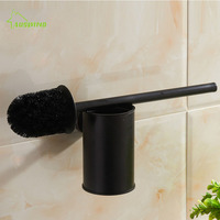 Bathroom Universal Simple Personality Toilet Brush Set With Mental Holder Black Oil Bronze Bathroom hardware hanging w74