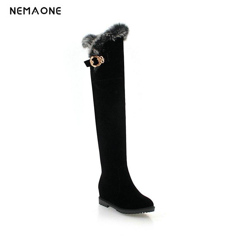 D'hiver Dames Femmes Le Plat Neige Haute Chaud Grande 43 De Beige Taille Femme Noir Sur Bottes Chaussures Nemaone Mode Genou wkX80PnNO