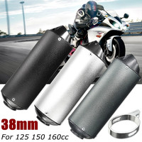 38mm Motorcycle Exhaust Muffler Pipe For 125 150 160cc Dirt Pit Bike ATV