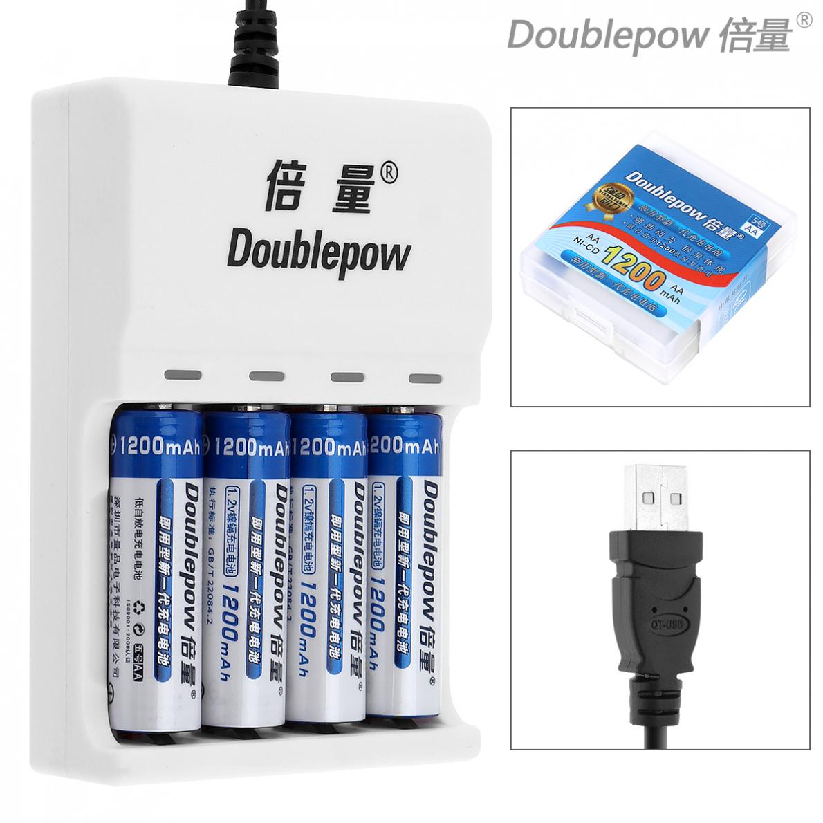 Doublepow 4 Slots USB Charger with LED Indicator + 4pcs Ni-CD AA 1200mAh Rechargeable Batteries + Portable Battery Box