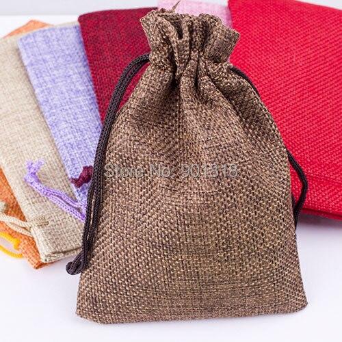 6dd0d08cf 10 unids/lote 10*14 cm colores mezclados con cordón Navidad bolso del regalo