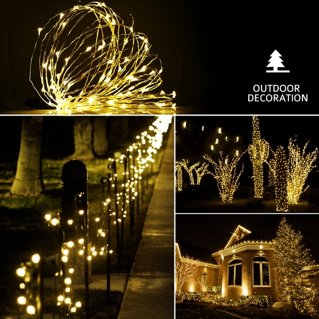 10M 100 LED Solar Powered String Light Warm White Lights Waterproof Copper Wire Lights for Gardens Parties with 8 Lighting Modes
