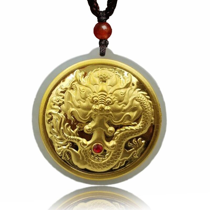 Gerade Koraba Feine Schmuck 24 K Gold Drachen Platte Intarsien Wada Jade Anhänger Halskette Mode Temperament Zubehör Geschenke Freies Verschiffen