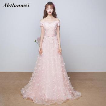 2019 New Summer Off Shoulder Evening Party Dresses Women'S Summer Pink Floral Xs-Xxl Floor-Length Long Dress Sweet Robe Femme
