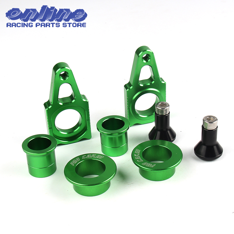 CNC Front & Rear Wheel Hub Spacers & Rear Axle Blocks Chain Adjuster With Spool Slider Bolts Sets For KX125 250 KXF250 KXF450