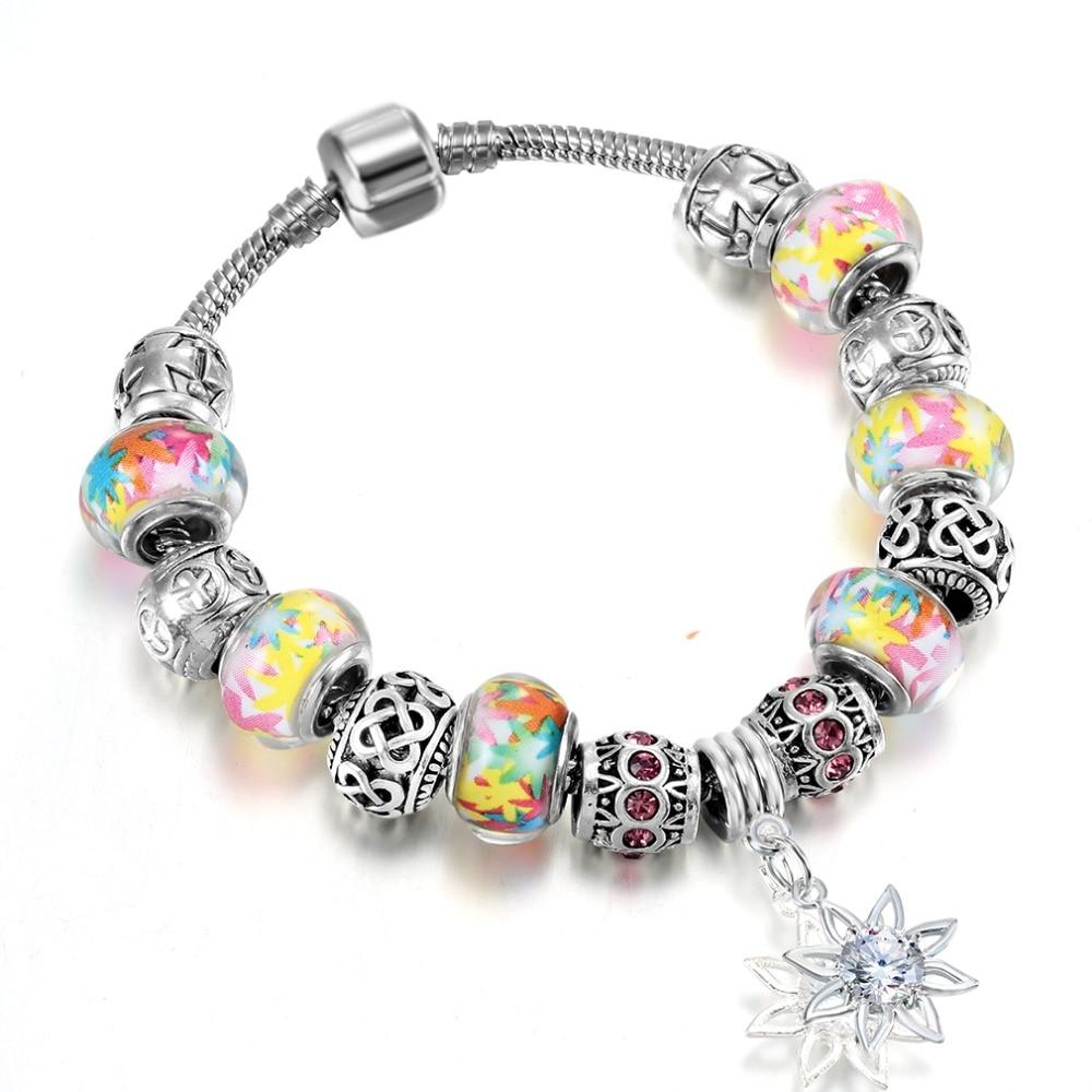 QIAMNI-Gift-Bright-Colorful-Glass-Beads-Sun-Flower-Pendant-Bracelet-Bangles-Fit-Original-Women-Girl-Snake