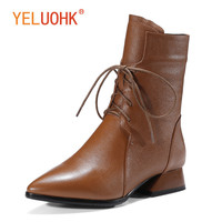34 42 Genuine Leather Women Winter Boots Platform Winter Women Boots Female Winter Shoes Ankle Boots