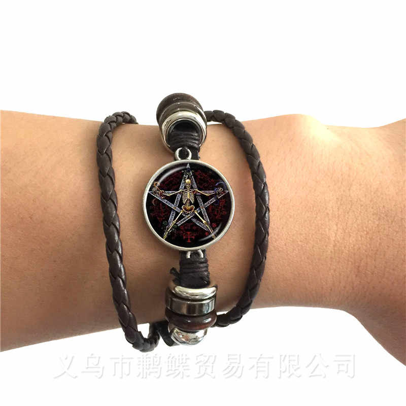 Satanic Baphomet Pentagram Bracelet Gothic Black/Brown Leather Bangle Satanism Evil Occult Pentacle Jewelry Pagan Charm Gift