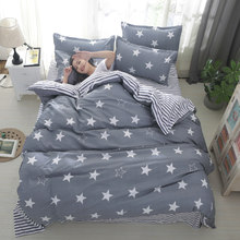 Gray Stars Bedding Sets Kids Boys Stripe Pillowcase Duvet Comforter Bed Cover Bed Sheet Geometric Bed Linen59(China)