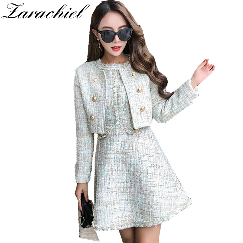 71c888948bf4 2018 Winter Tweed Two Piece Sets Clothing Women Long Sleeve Gold Button  Short Jacket + Tassel Mini Vest Dress 2 Piece Dress Suit