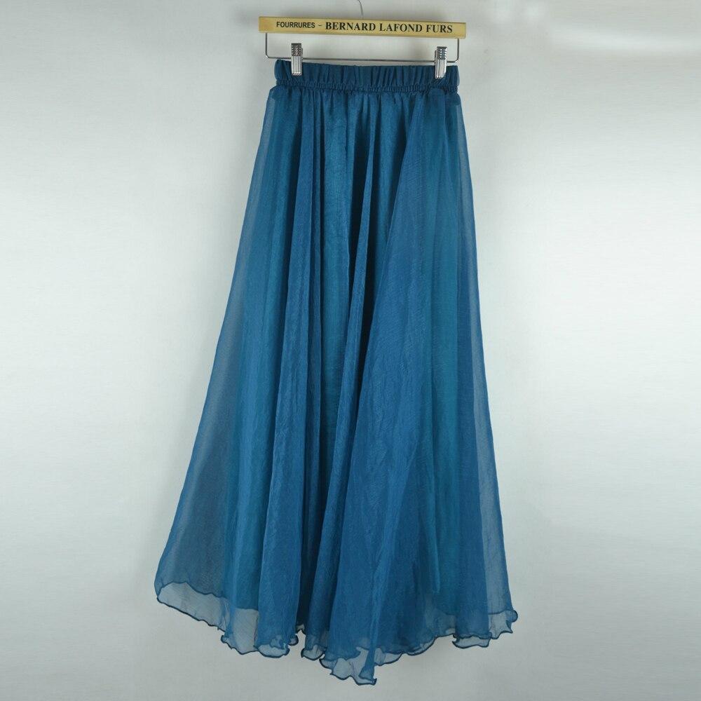 Sherhure 19 High Waist Women Chiffon Long Skirts Floor Length Ruffles White Summer Boho Maxi Skirt Saia Longa Faldas 34