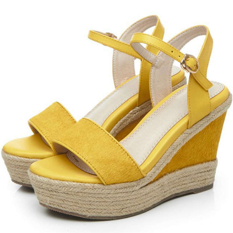 ФОТО Hot fashion Cow leather high wedges heel women ankle-strap sandals ladies 2017 Summer real horsehair yellow green black shoes