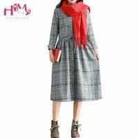 Autumn Fashion Women Long Sleeve Vintage Dress Japanese Mori Girl British Style Pleated Dresses Plus Size