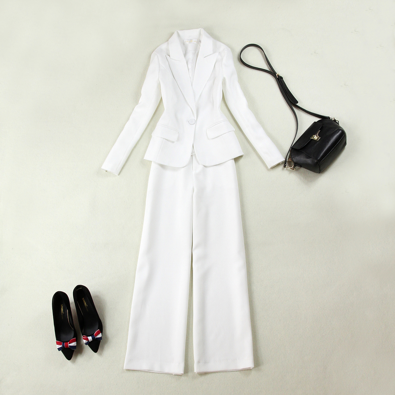 2018 Women s Spring and Autumn new self cultivation temperament suit white suit straight wide leg