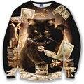 HOT Nice model hoodies for men/women 3d sweatshirt funny print big dollars cat and golden flowers hoodies autumn tops