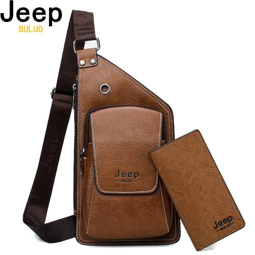 81ff21c465e Men Chest Bags 2 Pcs Set JEEP BULUO Brand Summer Travel Sling Bag For Man  Split Leather Corss body Bag High Quality Male Bags