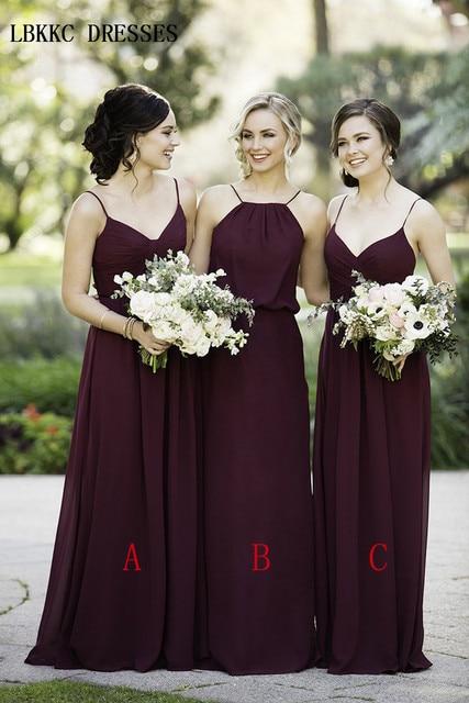 Spaghetti Straps Long Chiffon Bridesmaid Dresses Sleeveless Robe Demoiselle  D honneur A Line Simple Wedding Party Dress Summer 9123e4ee1899