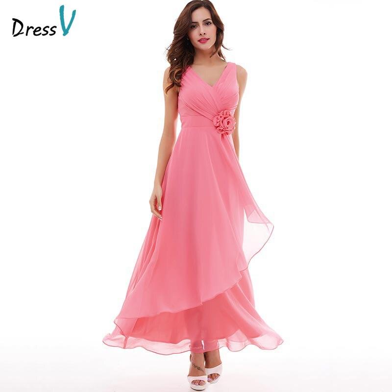 Dressv Pink Long Evening Dress Cheap V Neck Sleeveless Pleated A Line Zipper Up Wedding Party Formal Dress Evening Dresses