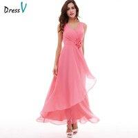 Dressv vestido rosa de noche largo barato cuello en v sin mangas plisado una línea de cremallera hasta vestido de partido formal de la boda vestidos de noche