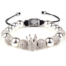 Imperial Crown King CZ Bracelets Luxury Fashion Charm Beads bracelet Jewelry for Men Women Gift