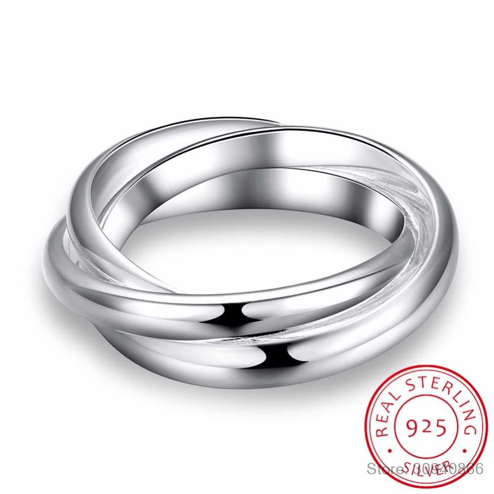 LEKANI Free Shipping New Beautiful Fashion 925 sterling silver jewelry silver ring Three Circles anel de Prata bijoux