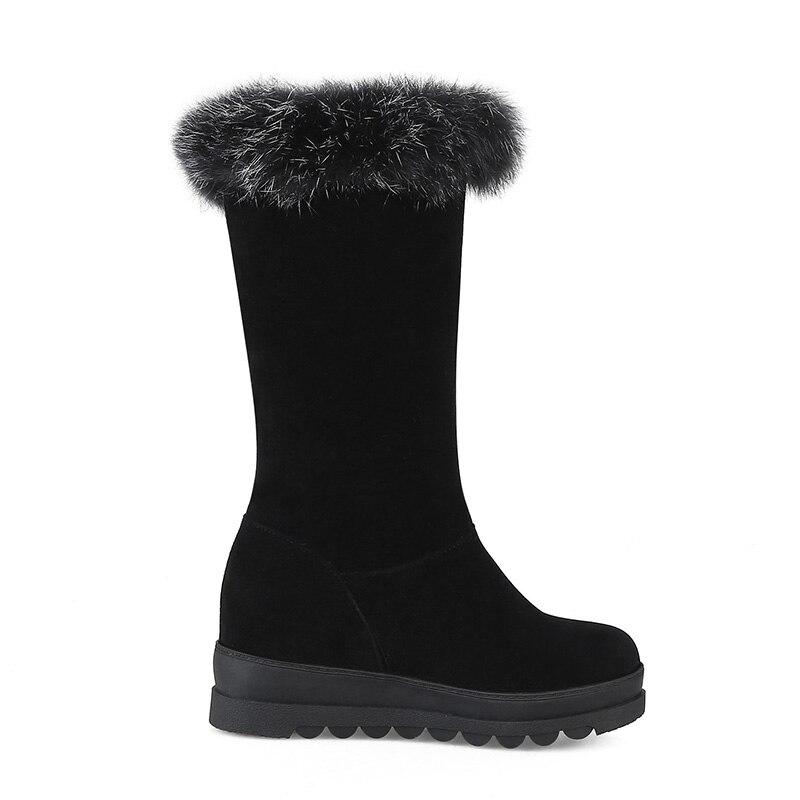 Neige Mode Bottes Épais Glissement Lapin mollet Fourrure Mi Femme Tailles 2017 Chaussures 43 Grandes Fond Doratasia Femmes De 34 Sur Noir SzLqpUGMV
