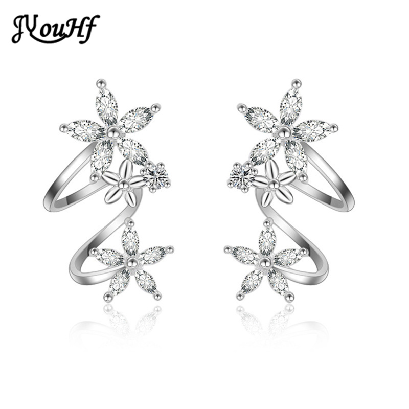 JYouHF Exquisite White/Rose Gold Color Flower Ear Clip Earrings with - Fashion Jewelry - Photo 2