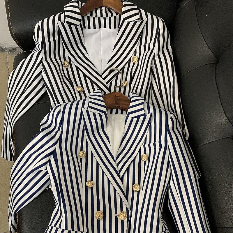 Di alta Qualità 2019 I Più Nuovi in Bianco E Nero A Righe Ufficio Vestiti Della Signora Elegante Doppio Petto Classico Giacche Femme-in Blazer da Abbigliamento da donna su  Gruppo 3
