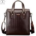 YINTE Fashion Men's Briefcase Leather Men Messenger Bag Shoulder Bag Handbag Men Totes Brown Crocodile Prints Totes T8245-3