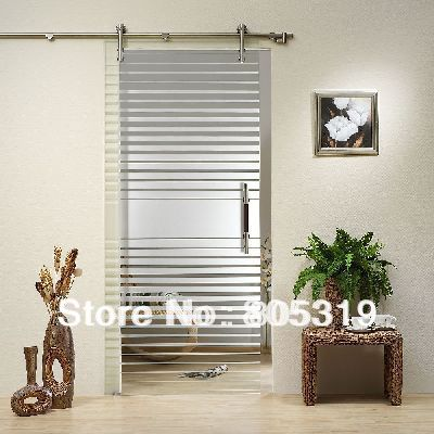 66ft modern interior sliding glass barn door stainless steel hardware kitsatin
