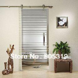 DIYHD 150 سنتيمتر-244 سنتيمتر نحى الفولاذ المقاوم للصدأ باب منزلق من الزجاج الأجهزة فرملس الحظيرة باب زجاجي عدة