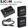 Original SJCAM SJ7 Star Dual Charger 2pcs SJCAM Batteries 1000mAh Rechargeable Li Ion Battery For SJ7