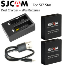 Original SJCAM SJ7 Star Dual Charger+2pcs SJCAM Batteries 1000mAh Rechargeable Li-ion Battery for SJ7 Sports Action DV Camera