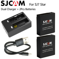 Original SJCAM SJ7 Star Dual Charger 2pcs SJCAM Batteries 1000mAh Rechargeable Li Ion Battery For SJ7