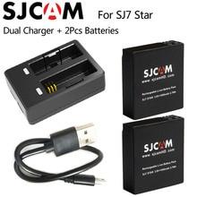 Оригинальный SJCAM sj7 звезда двойной Зарядное устройство + 2 шт. SJCAM Батареи 1000 мАч Перезаряжаемые литий-ионный Батарея для SJ Cam sj7 Спорт действие Камера