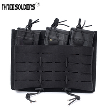 Military Paintball Airsoft Laser Cut Triple Magazine Pouch Tactical MOLLE Triple Magazine Pouch FAST AK AR M4 FAMAS Mag Pouch casio triple sensor