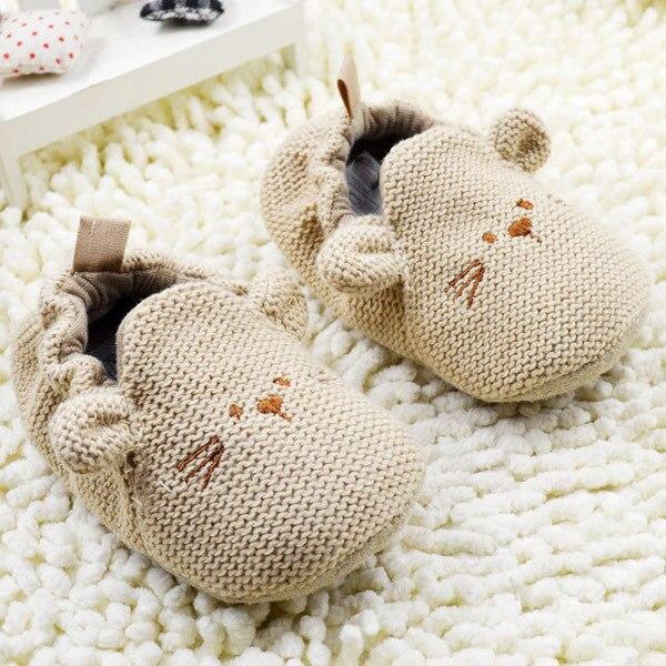 Infant Slippers Toddler Baby Boy Girl Knit Crib Shoes Cute Cartoon Anti-slip Prewalker Baby Slippers Y13