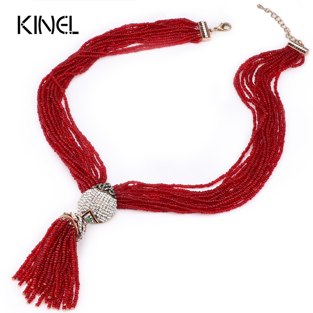 Kinel Women's Bohemia Tassel Pendants Chokers Necklace Red Crystal Beads Multi Layer Necklace With Semi-Precious Stones Jewelry red vintage pattern bohemia cape with tassel trims