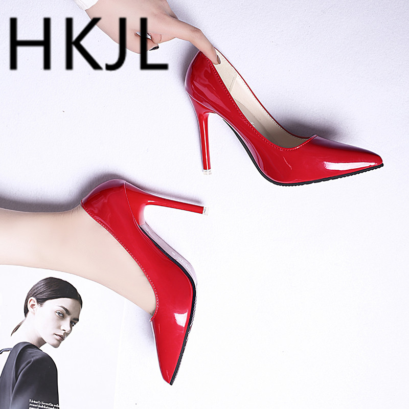 HKJL Spring stiletto heel 2019 new patent leather shoes children autumn sexy fashion pointy single women A273