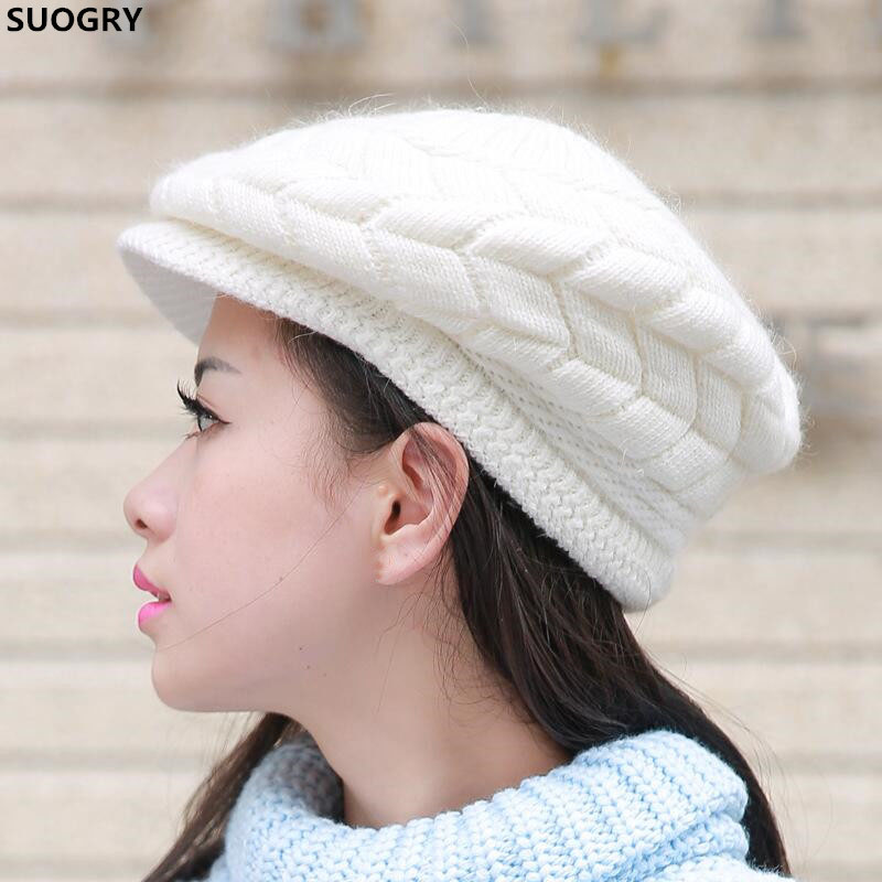 SUOGRY Women Fashion Knitted Hat Winter Solid Color Warm Hats Accessories Beanie Girls Skullies Caps Outdoor Bonnet Gift