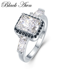 BLACK AWN 100 Genuine 3 4g 925 Sterling Silver Jewelry Wedding Rings for Women Engagement