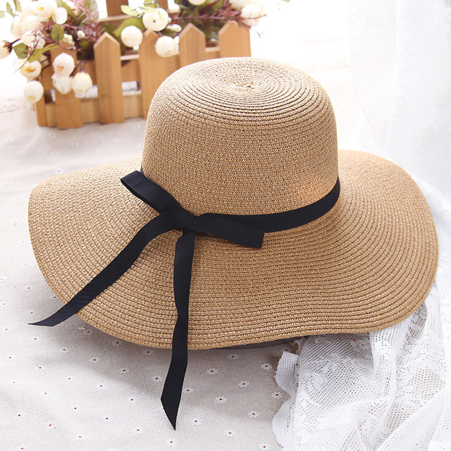 HT1299 Hot Sale Classic Women Summer Hats Large Big Wide Brim Straw Hats  Black Ribbon Band 81aa4d909f27