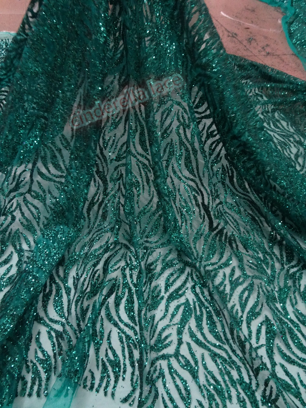 5yards lot pretty JIANXI C 42078 glued glitter design African tulle lace fabric with good