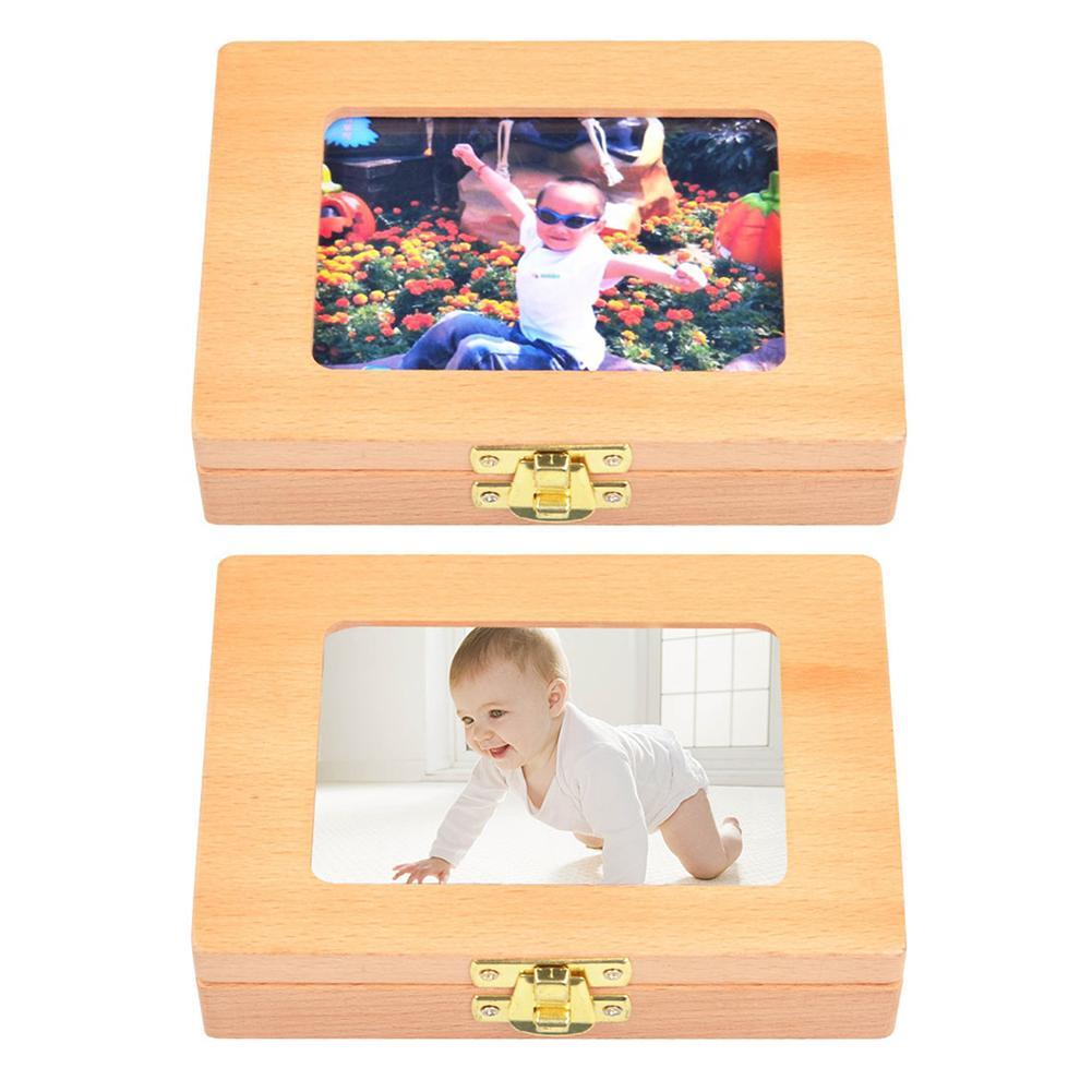Wooden Children's Photo Frame Deciduous Tooth Storage Box Baby Teeth Storage Box Guardar Dientes Abolladuras