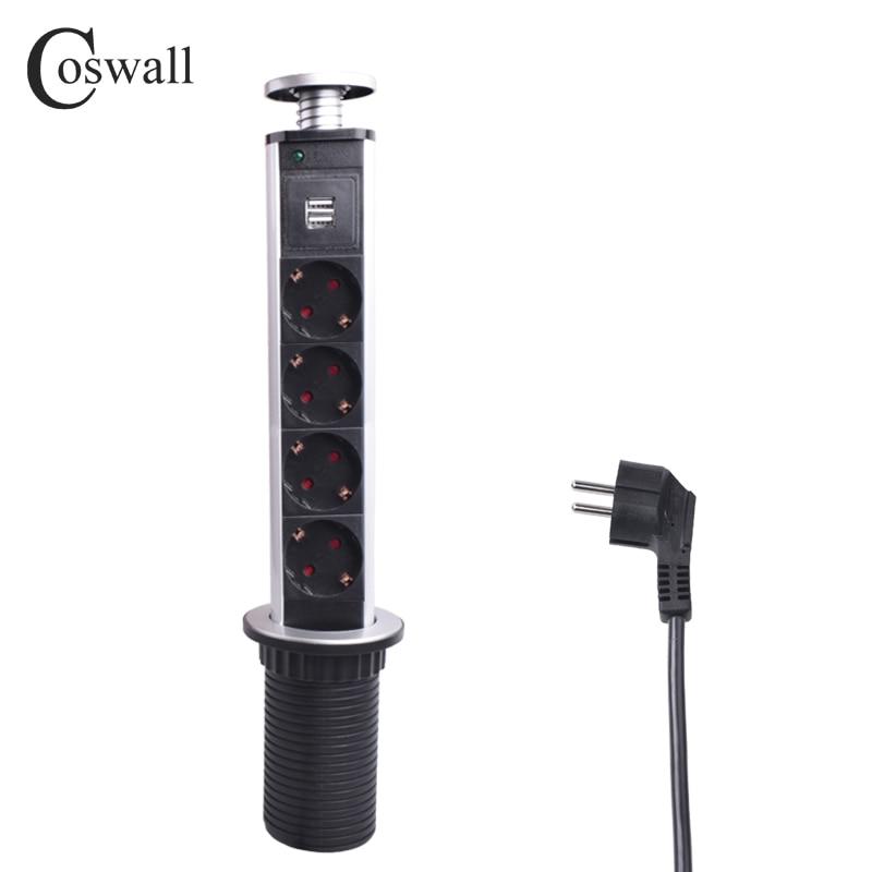 COSWALL 16A PULL POP UP 4 Prise D'alimentation 2 USB Port de charge Table De Cuisine De Bureau Sockets Rétractable Comptoirs Plan de Travail de L'UE Plug