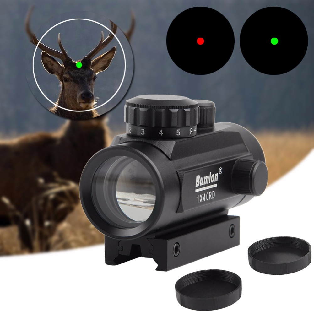 1x40 Holographique Rouge Dot Sight Airsoft Rouge Vert Dot Sight Portée 11mm 20mm Rail Mount Chasse airsoft Collimateur RL5-0013BL