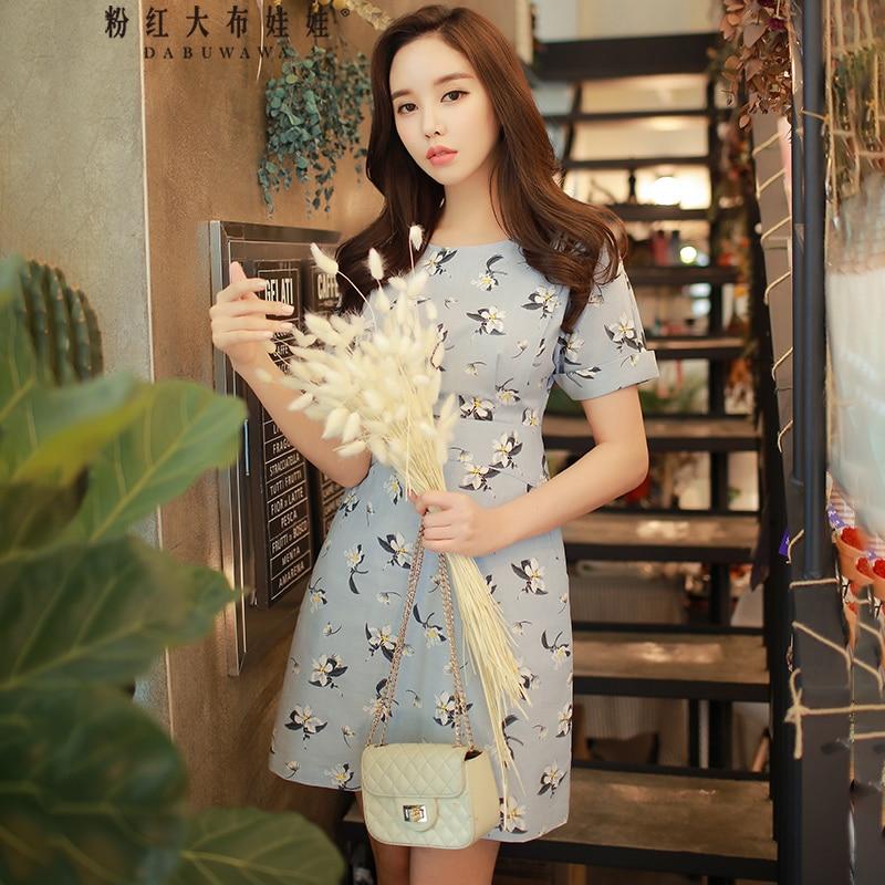 Dabuwawa Summer New Korean Short Sleeve OL Slim Dress Women Elegant Print A line Brief Short
